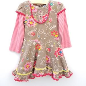 BABY NAY Boutique Corduroy Floral Dress Ruffle 3T